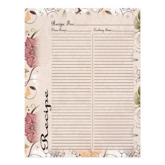 Recipe Page for Pink Rose Recipe Binder - 1