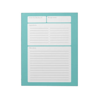 Recipe Page with Color Option Notepad