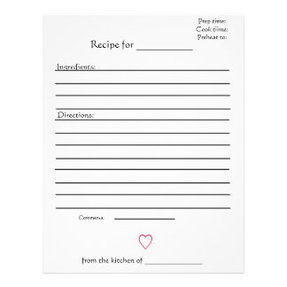 Recipe Pages for Combined Mothers Cookbooks Customized Letterhead