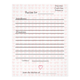 Recipe Pages for Combined Mothers Cookbooks Letterhead Template