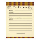 Recipe Pages for Plaid Binder Customized Letterhead