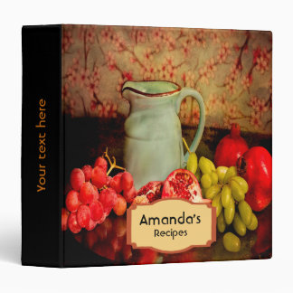 Recipe rustic cookbook binder with grapes wine mug