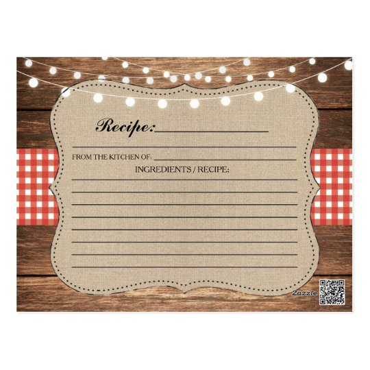 Recipe Wedding Bridal Party Cards Red Check
