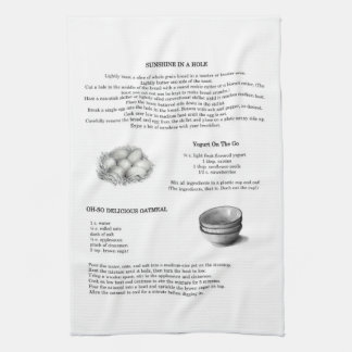 Recipes with Pencil Illustrations; Oatmeal, Eggs Kitchen Towel