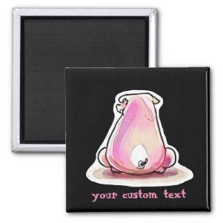 reckless pig cartoon style illustration square magnet