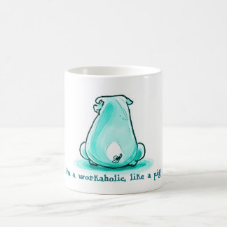 reckless pig sitting on the floor coffee mug