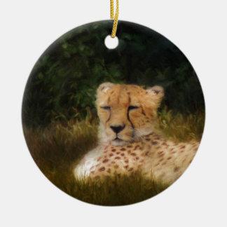 Reclining Cheetah at Fossil Rim Wildlife Center Round Ceramic Ornament