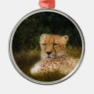 Reclining Cheetah at Fossil Rim Wildlife Center Silver-Colored Round Ornament