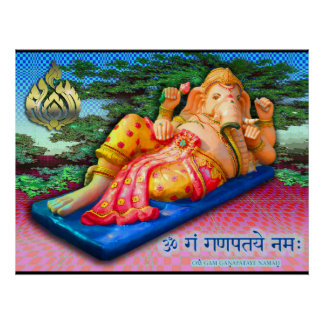Reclining Ganesha with Cobra Poster