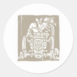 Reclining Mayan Woodblock Classic Round Sticker