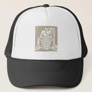 Reclining Mayan Woodblock Trucker Hat