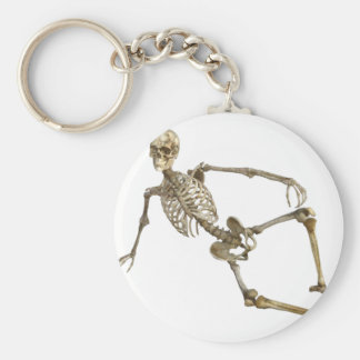 Reclining Skeleton Basic Round Button Keychain