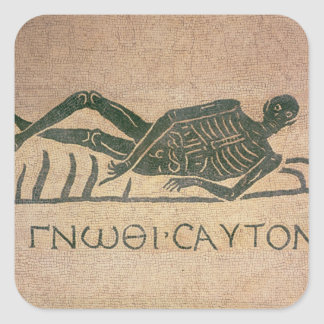 Reclining skeleton with the caption 'Know Square Sticker
