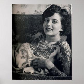 Reclining Tattooed Lady Poster