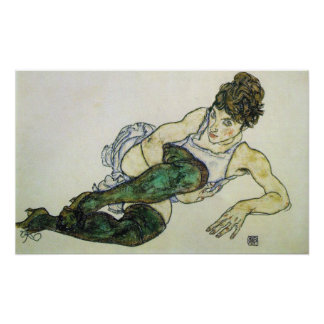 Reclining woman, Egon Schiele 24W x 15H Print