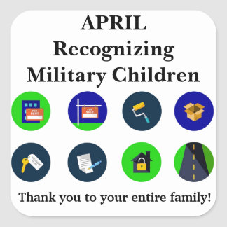Recognizing Military Children - April Square Sticker