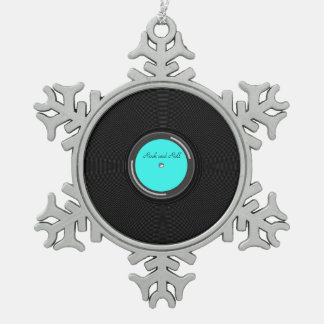 Record Album Snowflake Pewter Christmas Ornament