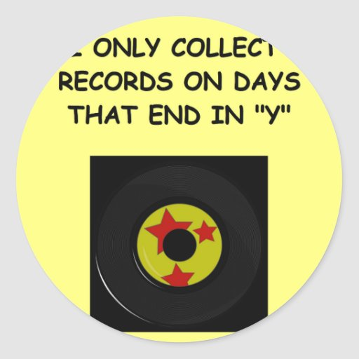 record collecting round sticker