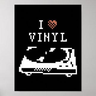 Record Player I Love Vinyl Pixel Art Poster