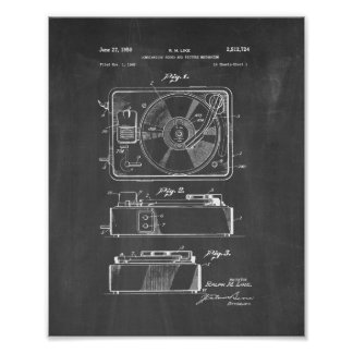 Record Player Patent - Chalkboard Poster