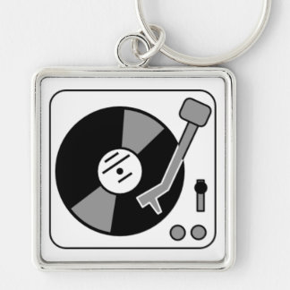 Record Turntable Silver-Colored Square Keychain