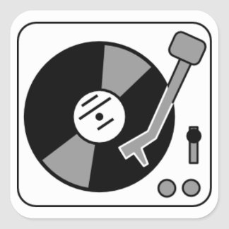 Record Turntable Square Sticker