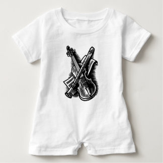 recorder and violin baby romper