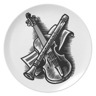 recorder and violin dinner plate