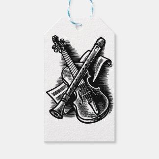 recorder and violin gift tags