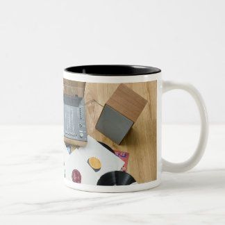 Records on Floor Two-Tone Coffee Mug