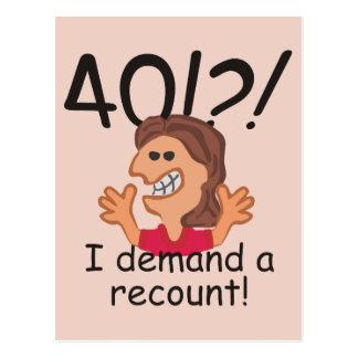 Recount 40th Birthday Postcard