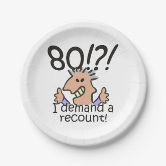 Recount 80th Birthday Paper Plate