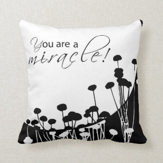 Recovery Miracle, Black and White Throw Pillow