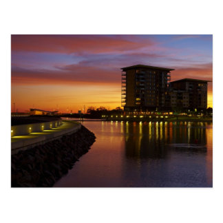 Recreation Lagoon and apartments at sunset Postcard