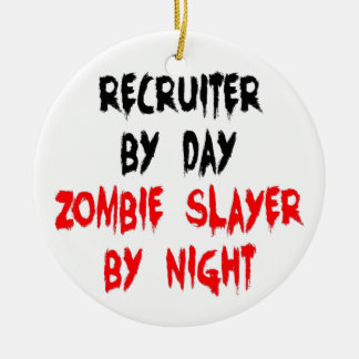 Recruiter Zombie Slayer Round Ceramic Ornament