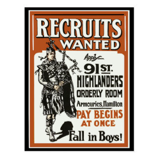 Recruitment 91st Highlanders Bagpiles WWI Postcard