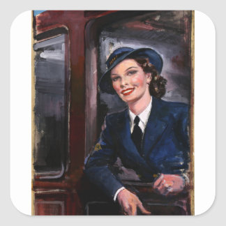 Recruitment WRNS rating_Propaganda Poster Square Sticker