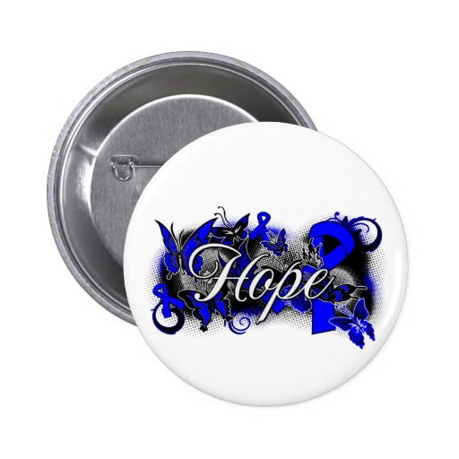 Rectal Cancer Hope Garden Ribbon Pinback Button