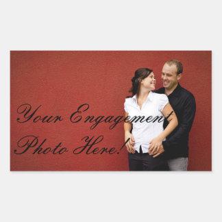 Rectangle d autocollants de photo de fiançailles d