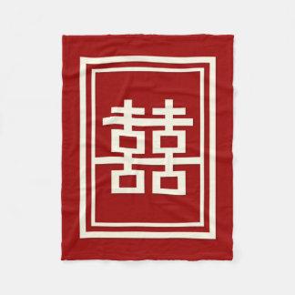 Rectangle Double Happiness Chinese Wedding Blanket
