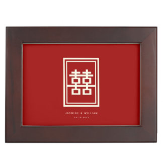 Rectangle Double Happiness Red Chinese Wedding Box