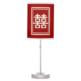 Rectangle Double Happiness Red Chinese Wedding Box Table Lamp
