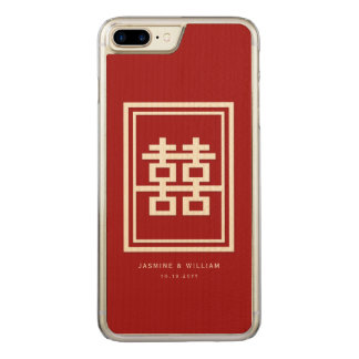 Rectangle Double Happiness Red Chinese Wedding Carved iPhone 8 Plus/7 Plus Case