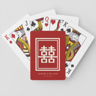 Rectangle Double Happiness Red Chinese Wedding Playing Cards