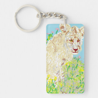 Rectangle (double-sided) Keychain African Lion