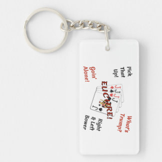 Rectangle Double-Sided Keychain - Euchre!
