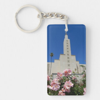 Rectangle (double-sided) Keychain LA Temple Roses