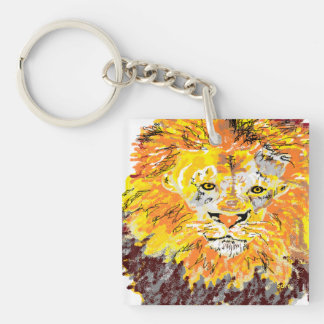 Rectangle (double-sided) Keychain  Lion