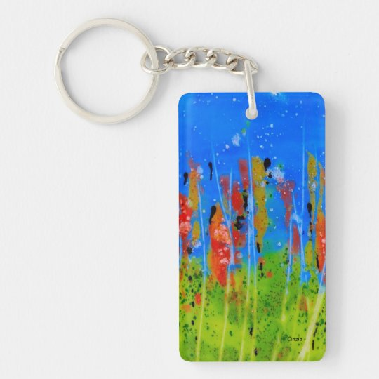 Rectangle Keychain with splashed-colours