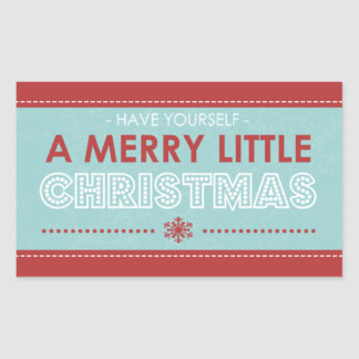 Rectangle Modern Blue Merry Little Christmas Sticker